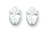 Sterling Silver 7x5 Oval Cubic Zirconia Stud Earrings style: QE7544