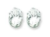 Sterling Silver 8x6 Oval Cubic Zirconia Stud Earrings style: QE7545