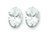 Sterling Silver 9x7 Oval Cubic Zirconia Stud Earrings style: QE7546