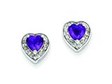 Sterling Silver Diamond and Amethyst Earrings style: QE7737AM