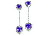 Sterling Silver Diamond and Amethyst Earrings style: QE7740AM
