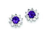Sterling Silver Diamond and Amethyst Earrings style: QE7741AM