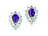 Sterling Silver Diamond and Amethyst Earrings style: QE7742AM