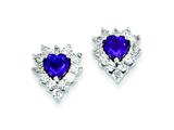 Sterling Silver Diamond and Amethyst Earrings style: QE7743AM