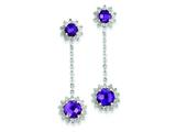 Sterling Silver Diamond and Amethyst Earrings style: QE7744AM
