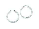 Sterling Silver Bright Cut 3x35mm Square Tube Hoop Earrings style: QE8136
