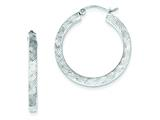 Sterling Silver Bright Cut 3x30mm Square Tube Hoop Earrings style: QE8413