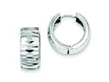 Sterling Silver Rhodium Polished Bright Cut Hinged Hoop Earrings style: QE8513
