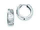 Sterling Silver Rhodium Bright Cut Polished Hinged Hoop Earrings style: QE8514