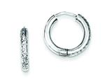 Sterling Silver Bright Cut Hollow Hinged Hoop Earrings style: QE8518