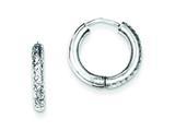 Sterling Silver Bright Cut Hollow Hinged Hoop Earrings style: QE8518