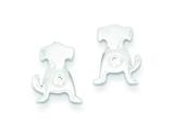 Sterling Silver Polished Cubic Zirconia Dog Post Earrings style: QE8679