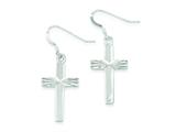 Sterling Silver Cross Shepherd Hook Earrings style: QE8819