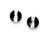 Sterling Silver Black And White Colored Cubic Zirconia 8mm Round Post Earrings style: QE9108