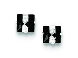 Sterling Silver Black And White Colored Cubic Zirconia 6mm Square Post Earrings style: QE9113