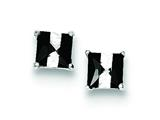 Sterling Silver Black And White Colored Cubic Zirconia 5mm Square Post Earrings style: QE9114
