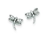 Sterling Silver Cubic Zirconia Dragonfly Post Earrings style: QE9206