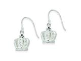 Sterling Silver Cubic Zirconia 3D Crown Shepherd Hook Earrings style: QE9234