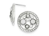 Sterling Silver Cubic Zirconia Circle Post Earrings style: QE9238