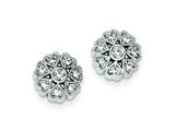 Sterling Silver Cubic Zirconia Flower Heart Post Earrings style: QE9275