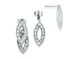 Sterling Silver Cubic Zirconia Dangle Post Earrings style: QE9292