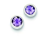 Sterling Silver Amethyst Post Earrings style: QE9411AM