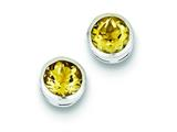 Sterling Silver Citrine Circle Stud Earrings style: QE9411CI