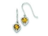 Sterling Silver Citrine Small Heart Earrings style: QE9412CI