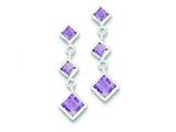 Sterling Silver Polished Amethyst Post Dangle Earrings style: QE9413AM