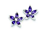 Sterling Silver Cubic Zirconia Flower Post Earrings style: QE9419