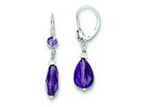 Sterling Silver Faceted Amethyst Tear Drop Leverback Earrings style: QE9422