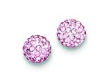 Sterling Silver 8mm Pink Cubic Zirconiaech Crystal Post Earrings style: QE9540