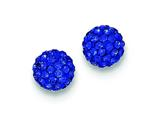 Sterling Silver 8mm Dark Blue Cubic Zirconiaech Crystal Post Earrings style: QE9544
