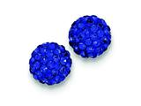 Sterling Silver 10mm Dark Blue Cubic Zirconiaech Crystal Post Earrings style: QE9545