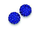 Sterling Silver 10mm Dark Blue Cubic Zirconiaech Crystal Post Earrings style: QE9545