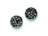 Sterling Silver 8mm Charcoal Cubic Zirconiaech Crystal Post Earrings style: QE9546