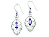 Sterling Silver Amethyst Fancy Dangle Earrings style: QE9609