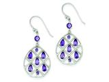 Sterling Silver Amethyst Teardrop Dangle Earrings style: QE9610