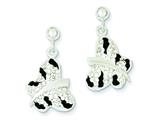Sterling Silver Stellux Crystal Black/white Animal Print Post Earrings style: QE9684