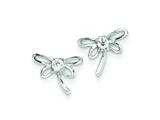Sterling Silver Dragon Fly W/ Cubic Zirconia Center Post Earrings style: QE9781