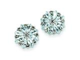 Sterling Silver Diamond and Aquamarine Earrings style: QE9988AQ