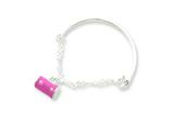 Sterling Silver Pink Enameled Purse Childs Bangle style: QG1330