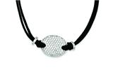 Sterling Silver Cubic Zirconia Black Fabric Cord Necklace style: QG2627