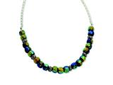 Sterling Silver Dichroic Glass Beaded 17in Necklace style: QG2753