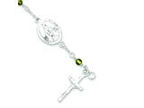 "Sterling Silver and Peridot Polished Children""s Rosary Bracelet style: QG2830"