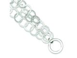 Sterling Silver Polished and Textured Multi-strand Toggle Bracelet style: QG3064