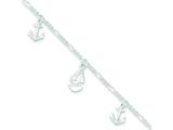 Sterling Silver Polished Boat And Anchor W/ 1in Ext. Anklet style: QG3159