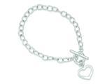 Sterling Silver Open Link Heart Bracelet style: QG3278