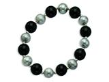 Sterling Silvr 12mm Black Agate 10mm Freshwater Cultured Silver Pearl Stretch Bracelet style: QH4512