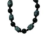 Sterling Silver 14mm and16mm Black Agate/snowflake Agate Necklace style: QH4513